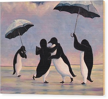 The Vettriano Penguins Wood Print by Michael Orwick