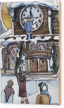 The Village Clock Wood Print by Mindy Newman