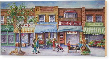 Wood Print featuring the painting The Village by Margit Sampogna