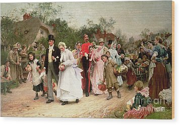 The Village Wedding Wood Print by Sir Samuel Luke Fildes