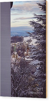 Wood Print featuring the photograph The Village - Winter In Switzerland by Susanne Van Hulst
