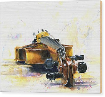 The Violin Wood Print by John D Benson