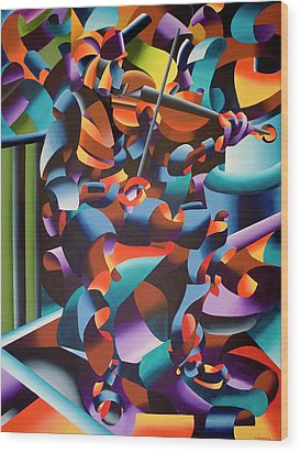 The Violin Player In Paris Wood Print