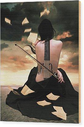The Violin Song Wood Print