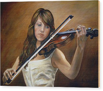 The Violinist Wood Print by Anne Kushnick