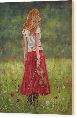 The Violinist Wood Print by David Stribbling