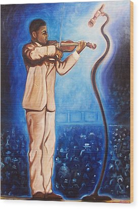 Wood Print featuring the painting The Violinist by Emery Franklin