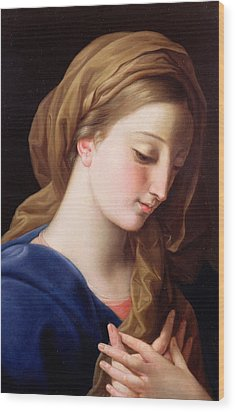 The Virgin Annunciate Wood Print by  Pompeo Girolamo Batoni