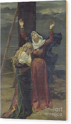 The Virgin At The Foot Of The Cross Wood Print by Jean Joseph Weerts