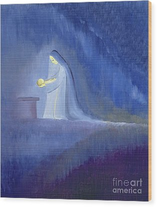 The Virgin Mary Cared For Her Child Jesus With Simplicity And Joy Wood Print by Elizabeth Wang