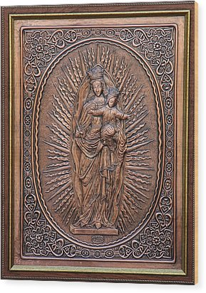 The Virgin Mary With Jesus Christ Wood Print by Netka Dimoska