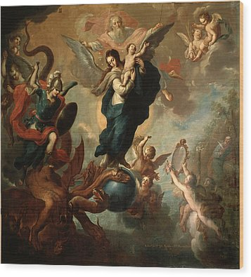 Wood Print featuring the painting The Virgin Of The Apocalypse by Miguel Cabrera