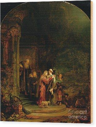 The Visitation Wood Print by  Rembrandt Harmensz van Rijn