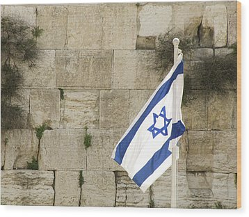 The Wailing Wall And The Flag Wood Print by Yoel Koskas