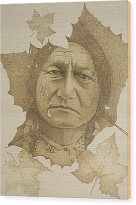 Wood Print featuring the drawing The War Chief by Tim Ernst