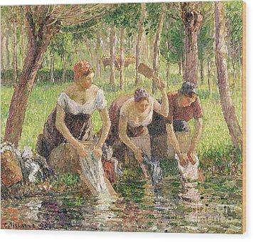 The Washerwomen Wood Print by Camille Pissarro