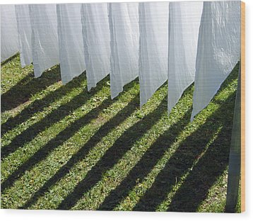 The Washing Is On The Line - Shadow Play Wood Print by Matthias Hauser