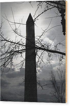 The Washington Monument - Black And White Wood Print