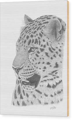 The Watchful Leopard Wood Print