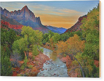 The Watchman And The Virgin River Wood Print
