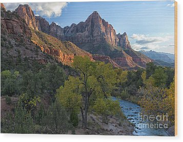 The Watchman And Virgin River Wood Print