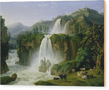 The Waterfall At Tivoli Wood Print by Jacob Philippe Hackert