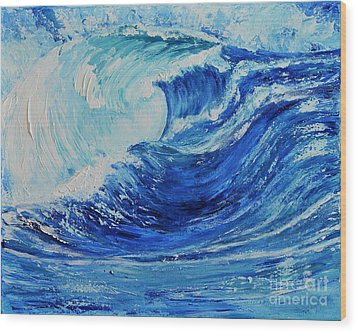 Wood Print featuring the painting The Wave by Teresa Wegrzyn