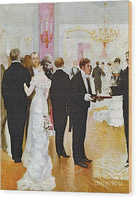 The Wedding Reception Wood Print by Jean Beraud