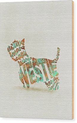 Wood Print featuring the painting The West Highland White Terrier Watercolor Painting / Typographic Art by Inspirowl Design