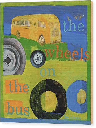 The Wheels On The Bus Wood Print by Laurie Breen