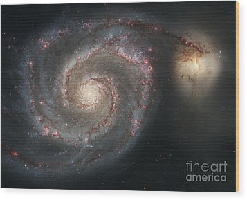 The Whirlpool Galaxy M51 And Companion Wood Print by Stocktrek Images