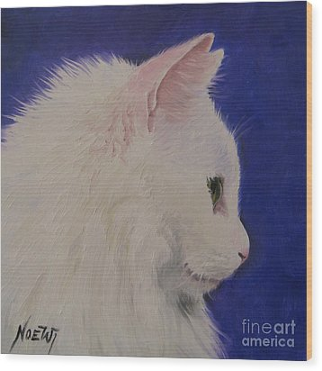 The White Cat Wood Print