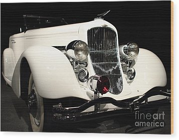 The White Duesenberg Wood Print by Wingsdomain Art and Photography