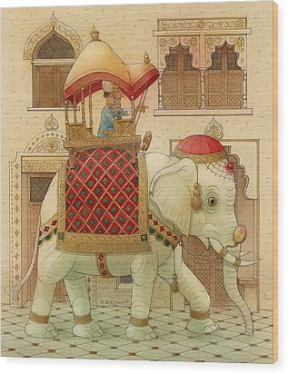 The White Elephant 01 Wood Print by Kestutis Kasparavicius