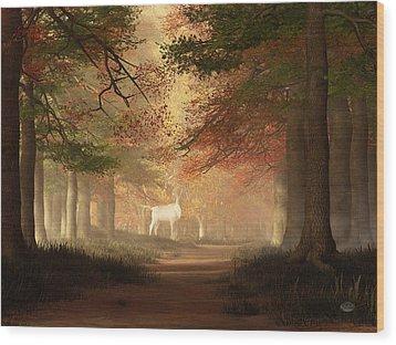 Wood Print featuring the digital art The White Elk by Daniel Eskridge