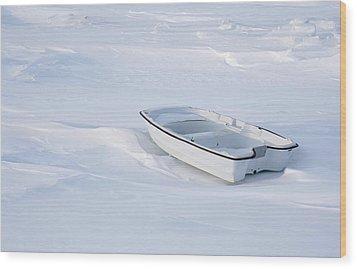 The White Fishing Boat Wood Print