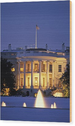 The White House South Portico At Dusk Wood Print by Richard Nowitz