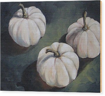 The White Pumpkins Wood Print