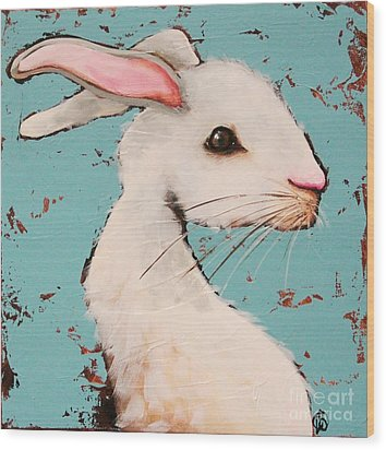 The White Rabbit Wood Print by Lucia Stewart