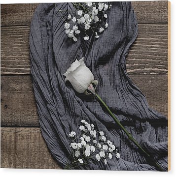 Wood Print featuring the photograph The White Rose by Kim Hojnacki