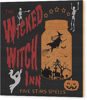 Wood Print featuring the painting The Wicked Witch Inn by Georgeta Blanaru