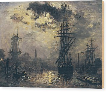 The Windmills In Rotterdam Wood Print by Johan Barthold Jongkind