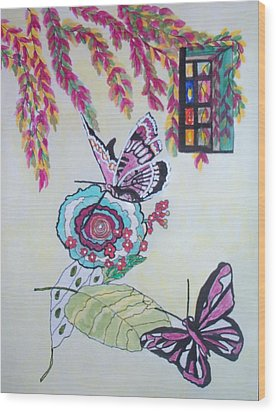 The Window To The Butterfly World Wood Print by Connie Valasco