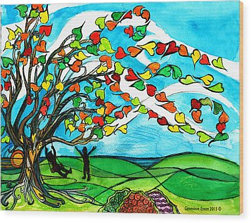 The Windy Tree Wood Print by Genevieve Esson