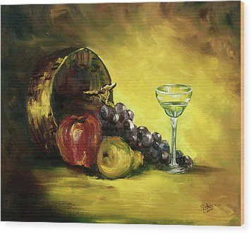 Wood Print featuring the painting The Wine Glass by Rebecca Kimbel