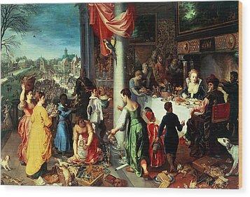 The Winter Feast Wood Print by Hendrik van the Elder Balen