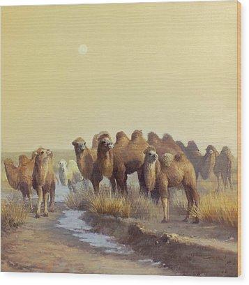 The Winter Of Desert Wood Print by Chen Baoyi