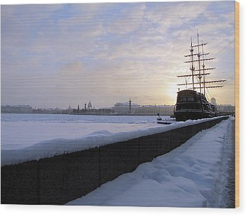 Wood Print featuring the pyrography The Winter Ship by Yury Bashkin