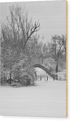 The Winter White Wedding Bridge Wood Print