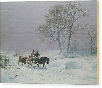 The Wintry Road To Market  Wood Print by Thomas Sidney Cooper